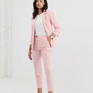 Pink linen cigarette pants